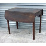 A 19th century mahogany Pembroke table with single frieze drawer, 91cms wide.(A/F)