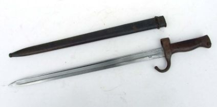 A clean example of the French Model 1892 Bayonet in its steel scabbard. Blade length 40cms (15.