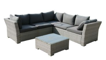 A rattan style three-piece interlocking garden patio set comprising of three seater sofa, a two
