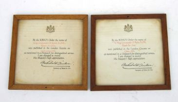 Two WWII period glazed and framed Royal Air Force Mentioned in Despatches certificates named to