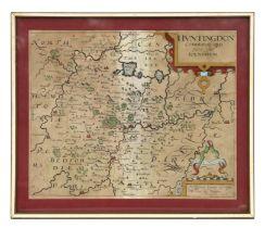 Saxon (Christopher) & William Kip - Huntingdon, comitatus qui pars fuir Ice Norum - a hand tinted