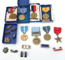 WWII and later USA Medals including Asiatic-Pacific Campaign, Campaign & Service Victory WWII,