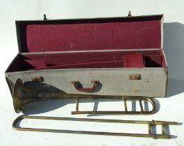 A Boosey & Hawkes Regent brass trombone, cased.