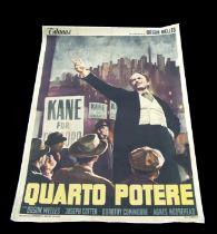 Citizen Kane Quarto Potere, 1968 re-released RKO, Italian 4-foglio, linen backed poster, 140 by