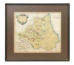 Morden (Robert) - Episcopaius Dunelmensis, Durham -a hand coloured map of Durham, sold by Abel