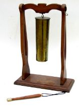 Early 20th century gong made from a 1906 dated 18 pounder brass artillery shell mounted on a