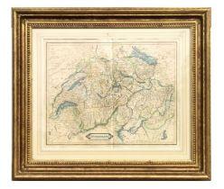 A 19th century map of Switzerland, published by W Lizars, Edinburgh, framed & glazed, Rowley Gallery