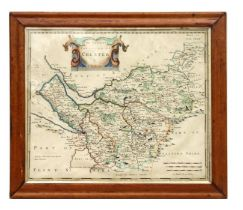 Morden (Robert) - The County of Palatine of Chester - a hand coloured map, sold by Abel Swale,