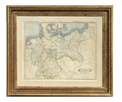 A 19th century map of Germany Prussian Dominions and Northern Independent States, published by W