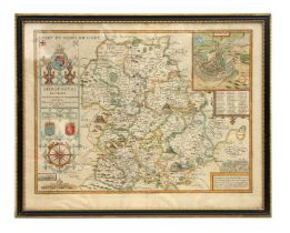 Speed (John) - Shropshyre Described the Sittuation of Shrowsbury - a hand coloured map with