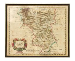 Morden (Robert) - Darybshire - a hand coloured map, sold by Abel Swale, Awnsham & John Churchill,