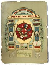 A Great Eastern Railway Pension Fund Membership, dated February 1895, number 5268, overall 46 by