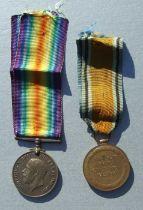 A WWI Devon Regiment casualty Medal pair named to 7947 PTE. M.TIDWELL. DEVON REG.