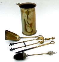 1942 dated brass shell case trench art fireside companion set with tools. Overall height of shell