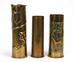 Three brass trench art shell cases, one with an etched Chinese scene, the largest 28cms high (3).