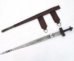 A North African sword in a tooled leather scabbard, 89cms long.