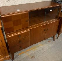 MID CENTURY SIDEBOARD WITH GLASS SLIDING DOORS
