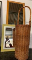 2 MIRRORS AND A TALL WICKER BASKET