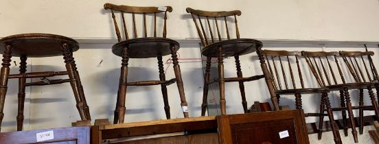 SET OF 6 STICK BACK DINING CHAIRS