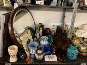 SHELF TO INCLUDE OVAL WALL MIRROR, LADIES FUR JACKET, COLLECTABLES, ETC