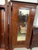 MAHOGANY INLAID SINGLE WARDROBE WITH MIRRORED DOOR