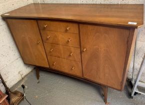 MID CENTURY SIDEBOARD WITH 2 CUPBOARDS & 4 DRAWERS ON HAIR PIN LEGS