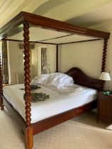 MODERN MAHOGANY FOUR POSTER BED FRAME WITH BARLEY TWIST SUPPORTS