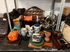 SHELF OF CHINA, GLASSWARE, LADIES FUR STOLE & COLLECTABLES