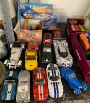 COLLECTION OF BURAGO MODEL CARS, AN AIRFIX KIT, ANOTHER KIT ETC