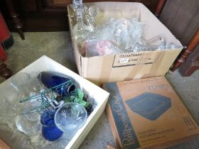 VARIOUS GLASS DECANTERS & GLASSWARE
