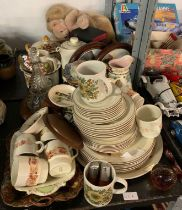 POOLE POTTERY PART TEA/DINNER SERVICE, CERAMICS, GLASS ETC