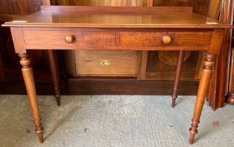 EARLY 20TH CENTURY MAHOGANY WRITING DESK/HALL TABLE WITH 2 DRAWERS