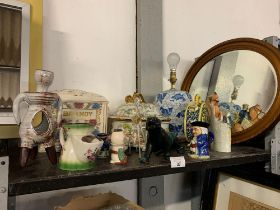 A BRANDY DRINKS BARREL, STAFFORDSHIRE FIGURE & OTHER ITEMS