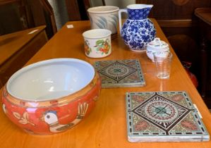 2 LATE VICTORIAN TILES & OTHER CERAMICS INCLUDING PORTMEIRION
