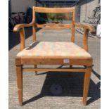 A Bodafors, Swedish, birch open armchair with upho