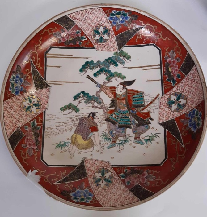 A Japanese charger centre painted with a warrior a - Image 2 of 5