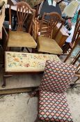 2 oak dining room chairs, mid century fireside cha