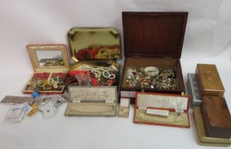 A quantity of costume jewellery, housed in various
