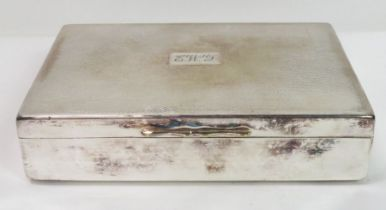 A silver plated cigarette box, wood lined, 16.5