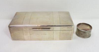 A silver cigarette box, wood lined, 18 cm long b