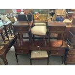 Stag style dressing table with mirror together wit