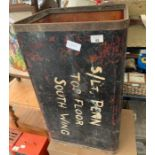 Large plywood container, painted & with metal edgi