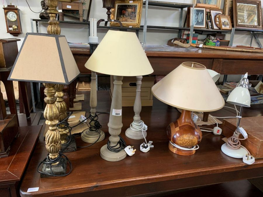 Gilt wood table lamp with stone effect base togeth