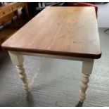 Pine top kitchen table with painted base/legs