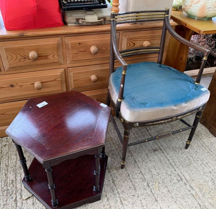 3 chairs, small table & opera chair - Image 2 of 7