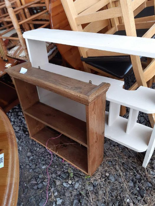 Pine open wall hanging shelf together with a paint