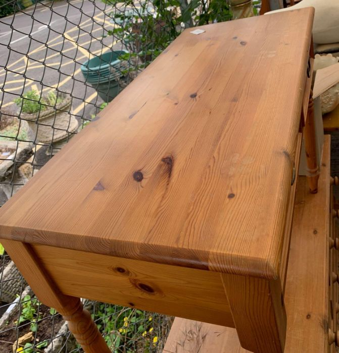 Modern stained pine 2 drawer console table togethe - Image 2 of 2