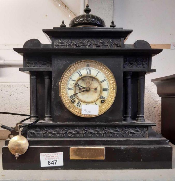 Black slate mantel clock, inscription on case Pres