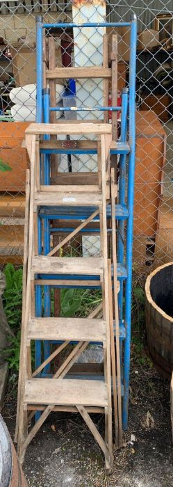 Calvert wooden step ladder together with a metal s