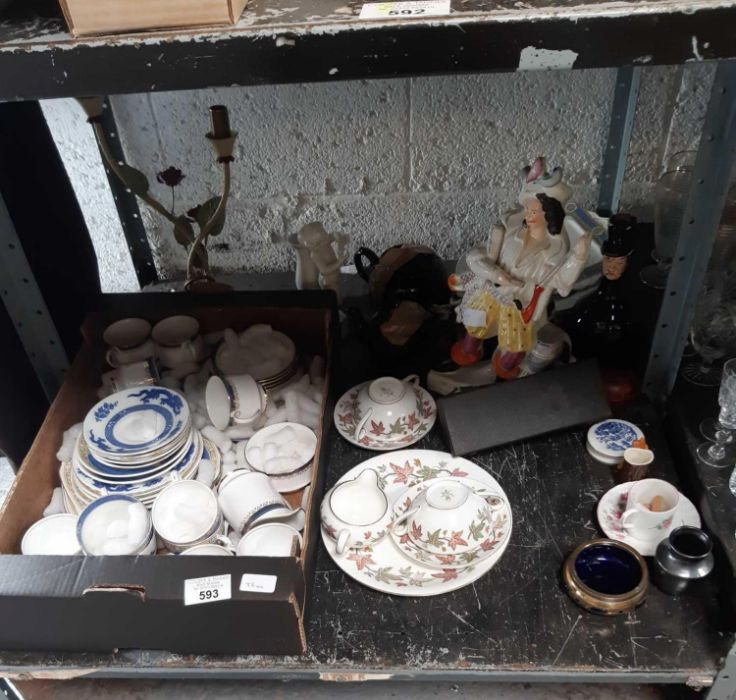Shelf of china to include Staffordshire, Pargon, 4